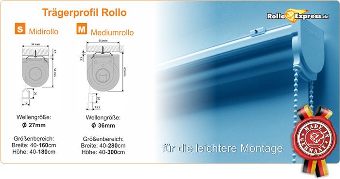 Trägerprofilrollos | Made in Germany | RolloExpress.de®